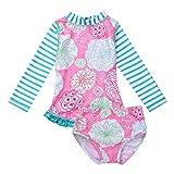 Freebily Baby Mädchen Badeanzug UV-Schutz Kinder Zweiteiler Schwimmanzug Langarm Badebekleidung Set Shirt + Slip in Gr.80-104 Rosa 92-98/2-3 Jahre