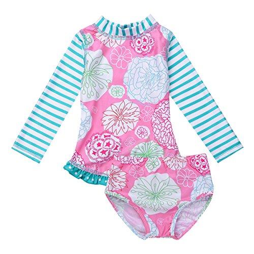 Freebily Bebé Niñas Traje de Baño Tops Largas Mangas Estampado de la Playa de Surf Conjunto de Bañador...