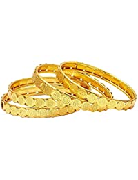 Aabhu Traditional Gold Plated Temple Coin Ginni Bangles Kada Jewellery For Women And Girls
