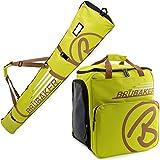BRUBAKER Kombi Set CHAMPION - Limited Edition - Skisack und Skischuhtasche für 1 Paar Ski bis 170 cm + Stöcke + Schuhe + Helm Hellgrün Hellbraun