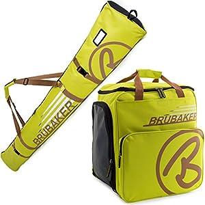 Brubaker Kombi Set Champion – Limited Edition – Skisack und Skischuhtasche für 1 Paar Ski 170 cm oder 190 cm + Stöcke + Schuhe + Helm Hellgrün Hellbraun