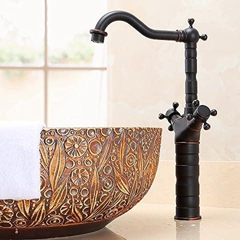 Qnqaantique Home sanitaire Ware, l'eau du robinet pivotant robinet, style européen chaud et froid tout en cuivre rétro Lavabo Robinet, un seul trou Cuivre Lavabo Robinet