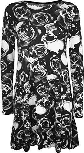 WearAll - Übergröße drucken lange Hülse rundem Halsausschnitt Damen Kurze Swing-Kleid - 7 Farben - Übergröße Größen 44-50 Skull Roses