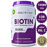 Healthyhey Nutrition Biotin Maximum Strength 10000 Mcg + Vitamin C - 120 Vegetable Capsules