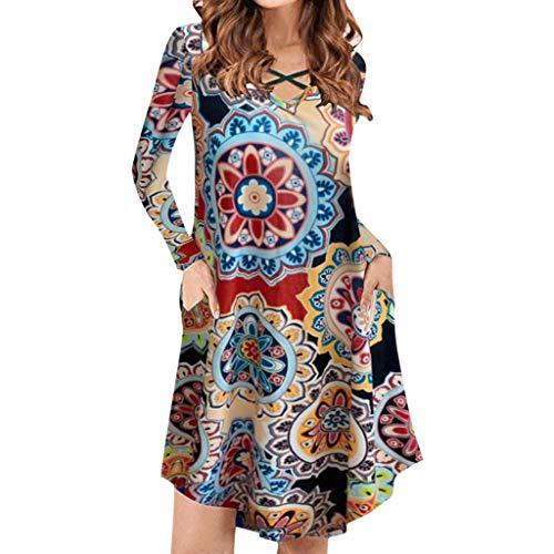 TUDUZ Frauen Sommer Vintage Boho Maxi Abend Party Kleid Elegant Strand Große Größen Blumenkleid (Y1-Rot, S) -