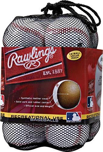 Rawlings Offizielle Liga Freizeit-Baseballs, OLB3, 3 Stück oder 12 Stück, Unisex, OLB3BAG12, weiß, 10 dz