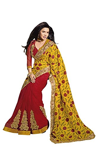 Orange and Orchid Chhappa Silk Net Yellow and Red Color Saree for Women  available at amazon for Rs.4499