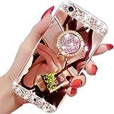 LCHULLE para Funda iPhone 7 Plus iPhone 8 Plus, Funda con Anillo Soporte Lindo Carcasa de Espejo para Mujer Cristal Diamante Brillante Lujoso TPU Cubierta Suave Anti-arañazos Caso Protector,Oro Rosa