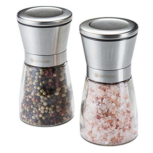 Dimono Premium Gewürzmühlen Set manuelle Salz und Pfeffermühle mit Keramikmahlwerk verstellbar | Salzmühle Chilimühle Kräutermühle Mühlenset Salz und Pfefferstreuer mit Deckel | Profi Kochzubehör