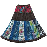 Mogul Interior Womens Patchwork Skirt Cotton Printed Bohemian A-line Gypsy Long Skirts