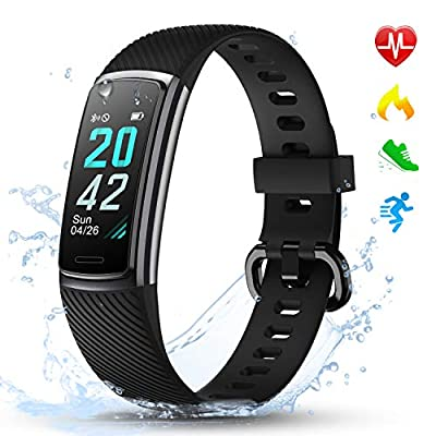 LETSCOM Fitness Trackers with Heart Rate Monitor Waterproof, Calorie Counter Pedometer Activity Tracker Watch Step Counter Sleep Monitor, Color Screen IP68 Waterproof for Kids Women and Men from LETSCOM