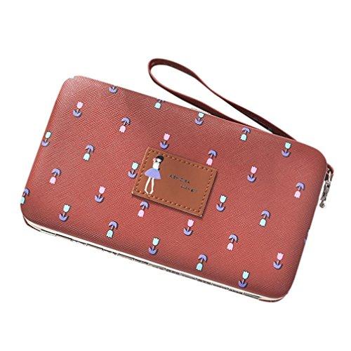 Portafoglio Donna, Tpulling Portafoglio multifunzionale del portafoglio floreale della borsa lunga della pelle di cuoio delle donne (Brown) Brown