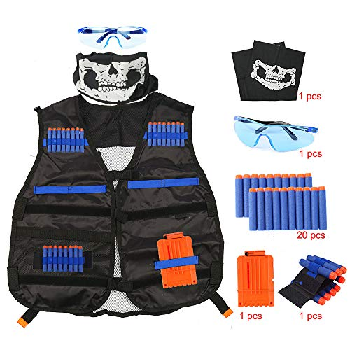 (Taktische Weste für Kinder,Taktische Weste Jacke Kit für Nerf Gun N-Streik Elite-Serie +20er Schaumstoff Darts+ 2 Stück 12-Dart Clips+Schutzbrille+Handgelenkbänder)