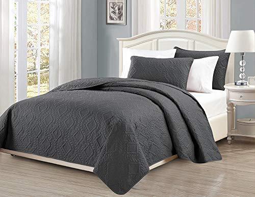 Linen Plus Tagesdecke für King-Size-Bett/California King 3-teilig, geprägt, Rautenmuster, Übergröße, Anthrazit/Dunkelgrau -