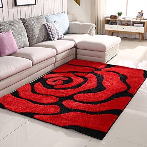 Li Ye Rosso Feng Shop Tappeto Antiscivolo Soggiorno Rosso Ye tappeti in Seta Lucente Ispessito tappetini comodini Camera da Letto Stile Moderno (Dimensione   120  170cm (47  67inch)) 1ada57