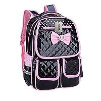 Puretime Girls Cute Pu Leather School Backpack Satchel Travel Bag Princess Style (Black)