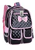 Kinder Kinderrucksack PU Leder Schule Rucksack Schulreisetasche Prinzessin Style (Schwarz)