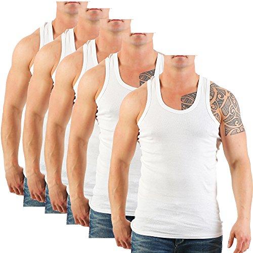5er Pack Herren Unterhemd (Achselhemd / Muskelshirt) Feinripp Nr. 282C auch in Übergröße Weiß