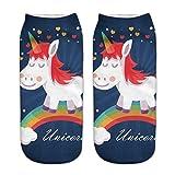 HENGSONG Women Girls Cute Horse Pattern Socks Sports Stocking (Navy blue)