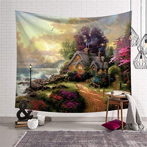 Dasongff Wandteppich, Traumwaldhaus Tapestry, Tagesdecke,Indian Wall Hanging, Comforter Picnic Beach Sheet, Wandbehang für Psychedelic Forest Birds Wand Schlafzimmer Wohnzimmer Decor -