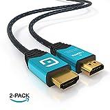 Cable HDMI 2 Metros - Ultra HD 4k HDMI - Alta Velocidad con Ethernet - Full HD 1080p, 4k a 60hz, Ultra HD 2160p, 3D, ARC y CEC - Cable de blindaje Triple - sin interferencias