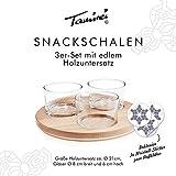 Snackschalen, Dipschalen, Fingerfood-Schalen, mit Kristall-Aufkleber, rund, aus Glas, mit Echtholzplatte