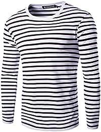 sourcingmap Allegra K Camiseta Para Hombres Cuello Redondo Mangas Largas Estampado de Rayas CzwupRTdgC