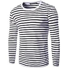38992c457803d sourcingmap Allegra K Camiseta para Hombres Cuello Redondo Mangas Largas  Estampado de Rayas