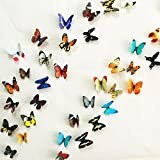 #5: Jaamso Royals Multicolor 3D PVC Butterflies' Wall Sticker Decal For Home Decor of 38 pc (2 sheet)