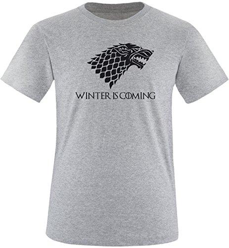 EZYshirt® Game of Thrones | Winter is coming | Schattenwolf Herren Rundhals T-Shirt Grau/ Schwarz