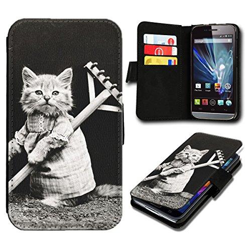 Book Style Wiko Fizz Premium PU-Leder Tasche Flip Brieftasche Handy Hülle mit Kartenfächer für Wiko Fizz - Design Flip SB776