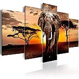 decomonkey | Bilder Afrika Tiere Elefant 200x100 cm | 5 Teilig | Leinwandbilder | Vlies Leinwand | Bilder | Wand | Bild | Wandbild | Kunstdrucke | Wanddeko Wanddeko Elefant Baum Tiere Sonnenuntergang Bäume braun