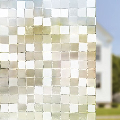 Rabbitgoo® Static Window Film for Glass Privacy Film Frosted Glass Self Adhesive Window Film Decorative THICK Upgrade Version 90CM x200CM, 3D Mosaic Pattern for Home Kitchen Office