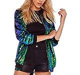 IWFREE Damen Jacke Herbst Bomber Jacke Piloten Baseball Mantel Outwear Tops Coat Bomberjacke Gepolstert Kurz Jacke mit Stehkragen Reißverschluss Outwear Pailletten