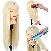 Neverland Cabeza Maniquí Peluqueria practicas Formación muñeca de la cosmetología 66cm 100% Cabello sintético (con soporte) #613