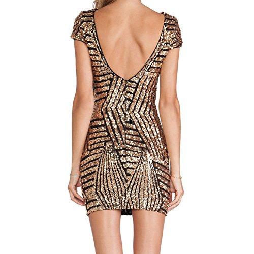 iBaste Bodycon Kleid Damen Pailletten Kleid Kurzarm Pencil Kleid elegant Minikleid Partykleid-GB-M - 2
