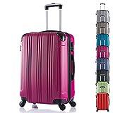WOLTU RK4206pk Reise Koffer Trolley Hartschale mit erweiterbare Volumen , Reisekoffer Hartschalenkoffer 4 Rollen , M / L / XL / Set , leicht und günstig , Pink (L, 67 cm & 70 Liter)