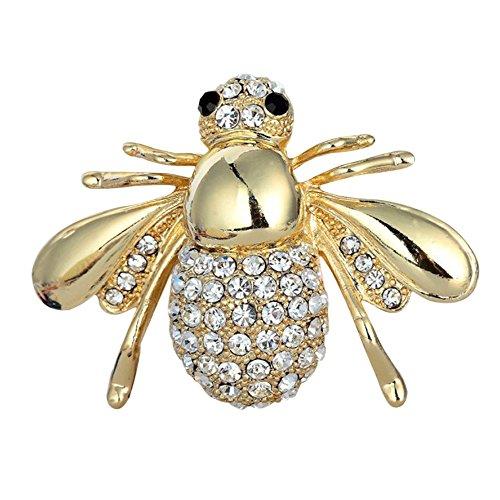 Kostüm Bee Honey - Ukallaite Frauen Liebenswürdig, Honey Bee Brosche Strass Kristall Kostüm Pin Silber Gold Ton Geschenk, gold, Einheitsgröße