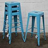 Marko Furniture Set of 4 Blue Metal Industrial Bar Stool Breakfast Kitchen Bistro Café Vintage
