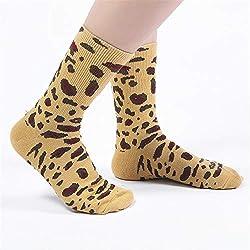 FAMILIZO Calcetines Moda Unisex Mujeres Hombres Algodón Leopardo Impresión Calcetines Largos Calcetines Tobillo Tobilleros Antideslizantes