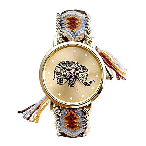 Mixe® Handmade Knitted Jewelry Watch Women Ladies Tribal Elephant Watches Dress Decor (Brown)
