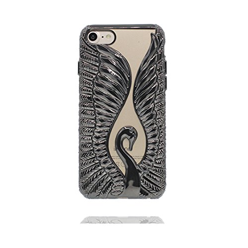 Custodia iPhone 7 Plus, Case TPU Durable Cute Shockproof Copertura per iPhone 7 Plus ( 5.5 ) Cover Shell TPU / (Mentale) / Cigno ( Nero ) Nero