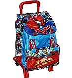 Marvel Spiderman Zaino Estensibile Scuola Trolley STACCABILE Rimovibile 41x30x15cm Blu Rosso Elementari Medie