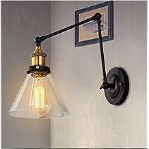 LKMNJ Iluminación del hogar lámparas de pared Retro continental en estilo dormitorio lámparas de pared lámpara de mesilla Americana Corredor Industrial del vidrio viento ,la varilla telescópica