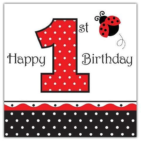 """16 serviettes de table en papier Coccinelle 1er anniversaire """"1st Birthday"""""""