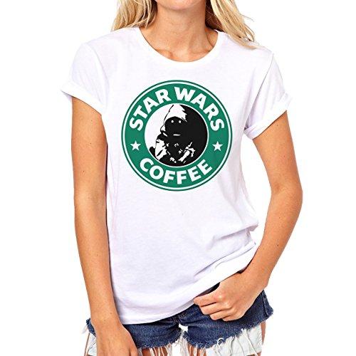 Starbucks Star Wars Coffee Black Devil Looking Background Damen T-Shirt Weiß