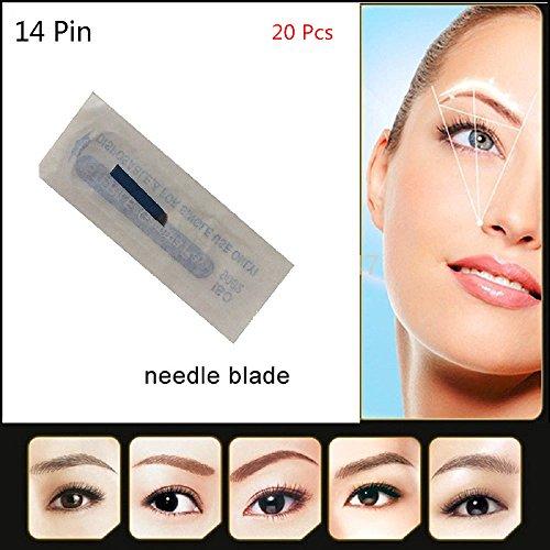 Agujas del tatuaje de la ceja de Pinkiou aguja permanente disponible del maquillaje de las agujas de la pluma de Microblading del agujero del Pin 14 (20pcs / lot)