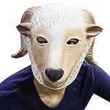 Cusfull Máscara De Látex Animales Disfrazarse de adultos de Halloween Props cabeza máscaras Latex Animal completo cumpleaños fiesta cara máscara Halloween disfraces (cabra)