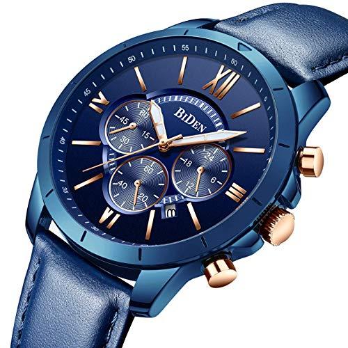 Montre, Montre Homme Affaires Mode Sport Décontractée Élégant Luxe Cuir Chronographe Calendrier Etanche Quartz (Bleu)