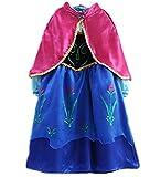 Eiskönigin Anna Kinder Kostüm Prinzessin Kleid Blau Mädchen Costume 3-9 Jahre - Frozen